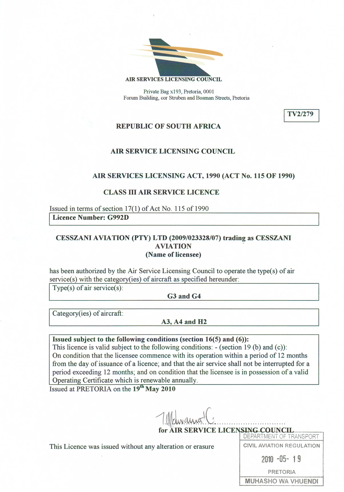 Air Service Licensing Council Licences